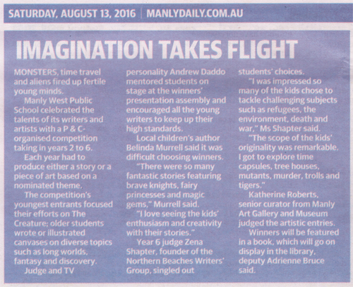 Manly Daily article 13/08/2016