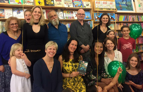 "The incredible Susanne Gervay with eight of the nine authors of ""Into Tordon"", plus fans!"