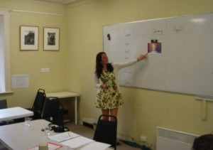 "Zena teaching her ""Vividness & Voice"" workshop."